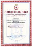 Свидетельство  о награждении Почетным вымпелом главы администрации города Нижнего Новгорода, 2009 год
