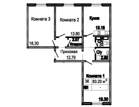3-х комнатная 83 кв.м.